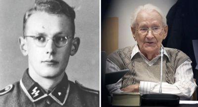 Oskar Gröning 1942 als Auschwitz-Buchhalter  und 2015 als Holocaust-Angeklagter vor Gericht.